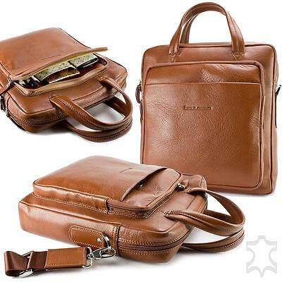 ECHT LEDER Bouletta Casually Tablet Notebook Tasche Aktentasche 12 Zoll Cognac