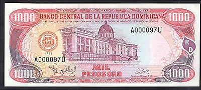 Dominican Republic. 1,000 Pesos, A000097U. 1998, Nearly Extremely Fine.