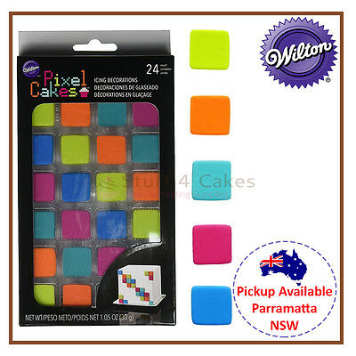 Wilton 24 Pack Pixel Square Icing Colour Cake Cupcake Decorations Party Supplies