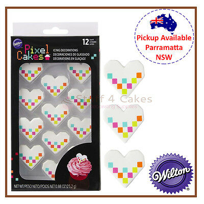 Wilton 12 Pack Pixel Heart Icing Colour Cake Cupcake Decorations Party Supplies