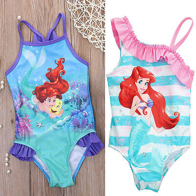 UK Stock Mermaid Girl Kids Bathing Swimwear Bikini Set Swimsuit Swimming Costume