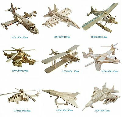 Various Fighter Military 3D Wooden Model Puzzle Imagination Assembly Woodcraft