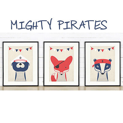 Nautical nursery decor, Pirates, Fox Badger Otter, Nursery woodland animals, Set