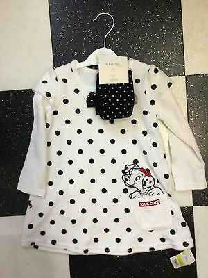 George White Black Dalmatian Dress And Matching Tights 0/3 Months New