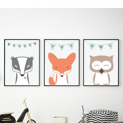 Adorable woodland animals for nursery, Set, Fox, Badger, Owl, Nursery decor