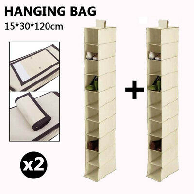 2X10 Section Clothes Hanging Organiser Storage Wardrobe Closet Shoes Rack Fabric