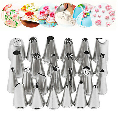 24Pcs/Set Russian Icing Piping Nozzles Flower Tips Cake Decorating Pastry Tools