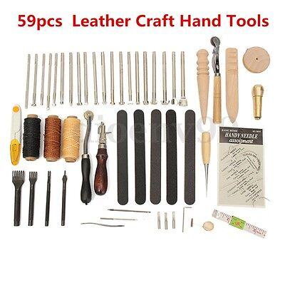 AU 59Pcs Leather Craft Hand Tools Kit Stitching Sewing Stamping Punch Carve New