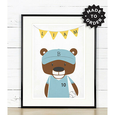 Baseball nursery art, Bear, Baseball player, Sport theme, sport nursery print