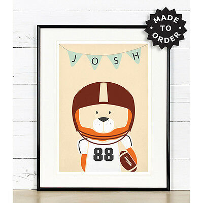 American football nursery decor, Lion, sports theme, sports nursery art, animals