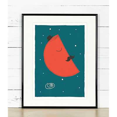Nursery wall decor, Moon with moustache, Night sky, Colorful nursery art