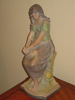 A Augustus Moreau Large Statue Of A Beautiful Young Girl