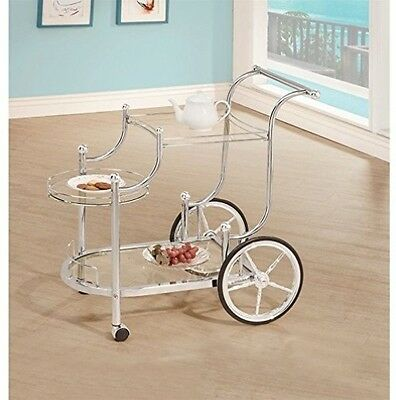Tea Bar Cart Trolley Serving Utility Rolling Wheels Kitchen Metal Glass Silver