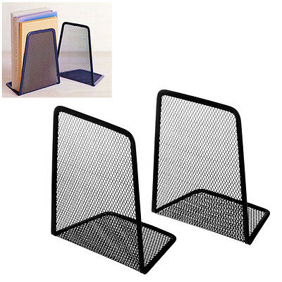 1 Pair Metal Mesh Book Holder Black Desk Organizer Desktop Office Home Bookends