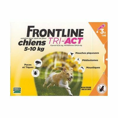 Frontline Tri-Act Spot-on Chiens 5-10 kg 3 Pipettes