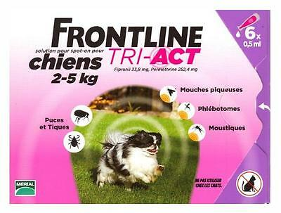 Frontline Tri-Act Spot-on Chiens 2-5 kg 6 Pipettes