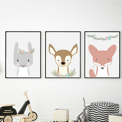 Nursery animals, woodland animals, Fox, Deer, Bunny, floral design, nursery art