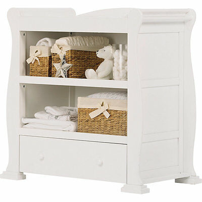 Sleigh Baby Changing Station, Dresser Table Unit and Drawer - White