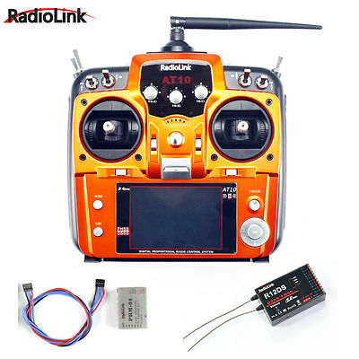 RadioLink AT10 II 2.4Ghz 10CH RC Transmitter with R12DS Receiver PRM-01 battery