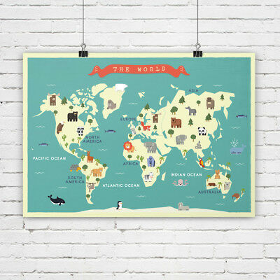 Nursery world map, Animals Map, Map for children, Map art print, Continents
