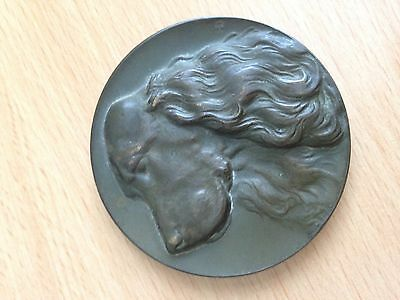 JAGD SPANIEL KLUB V - bronze cast disc with head in relief - great condition