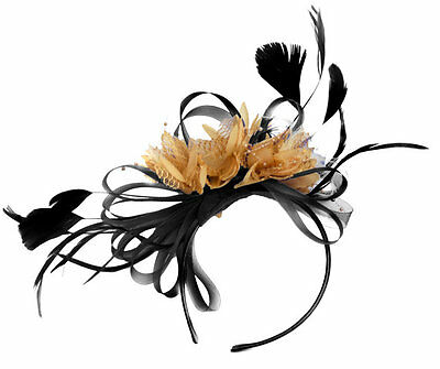 BESPOKE Black and Camel Beige Fascinator on Headband UK Wedding Ascot Races Loop