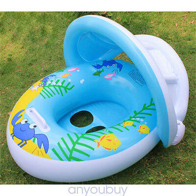 Fashion Baby Toddler Swimming Pool Swim Seat Float Boat Ring With Canopy