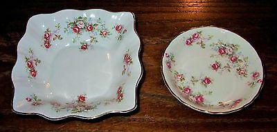 Two QUEENS ROSINA Pink Rosamund Design Fine Bone China Trinket Pin Dishes