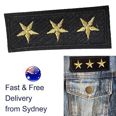3 Star badge Iron on patch gold rank embroidery patches heat transfer patches