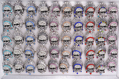 Wholesale lots Indians Rhinestone Skull Carved Biker Silver Plated Rings Gift