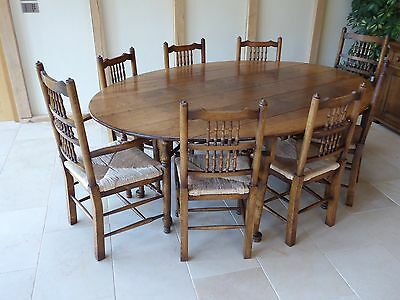 Oak dining table and chairs reproduction