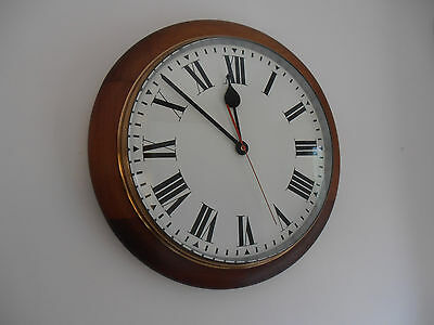 Vintage Railway Station School Wall Clock In Mahogany Converted To Battery