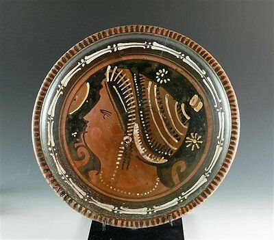 Greek Apulian Red-Figure Plate with Lady of Fashion - Greek  Magna Graecia Italy