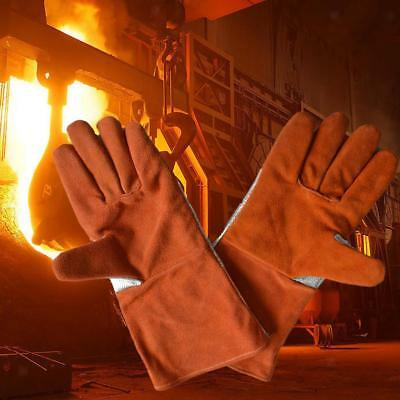 "New 14"" Artificial Cowhide Welding Gloves Protect Hands Tool Welder Orange"