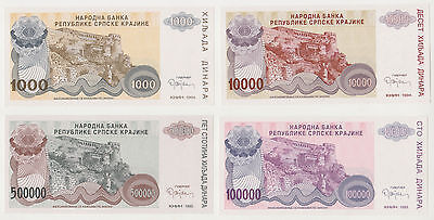 CROATIA set 4 proof notes no serial number 1, 10, 100 and 500 thousands dinara