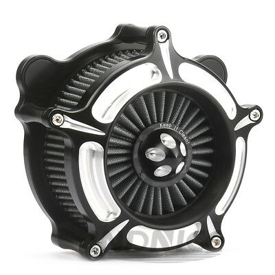 Motorcycle Turbine Air Cleaner intake filter For Harley Touring Glide 08-16 blac