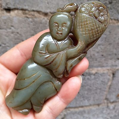 Chinese antiques, manual sculpture, Rare He Tian Jade Maid pendant A180