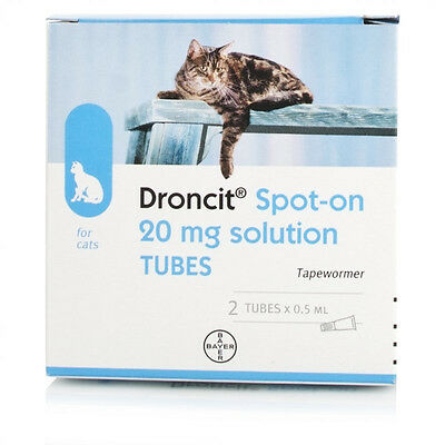 2 Tubes Droncit Spot On Cat Worming Treatment - 2 Pack Tapeworm Medicine for Cat