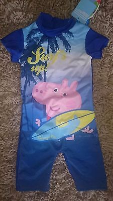 Bnwt boys age 18-24 months swim/sun protection UV50 suit Peppa pig/george design