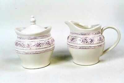 Milk and Sugar Bowl Set Vintage Style Antique White /Cream with Lilac Rose Flowe
