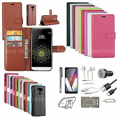 Flip Leather Case Cover Earphones Car Charger Screen Protector Accessory For LG