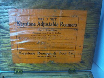 Vintage Keystone Reamer Set No.1 In Wood Case 8 Adjustable Reamers Millersburg P