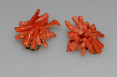 Antike Ohrclips Ast  Koralle Lachskoralle Coral Earclips