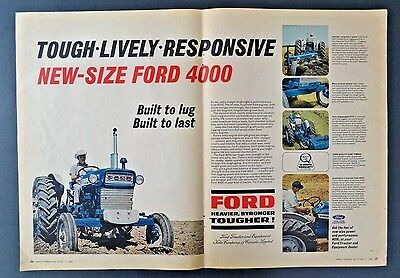 1966 Ford 4000 Tractor Farmer Blue Tractor  2 page Newspaper  Vintage Print Ad