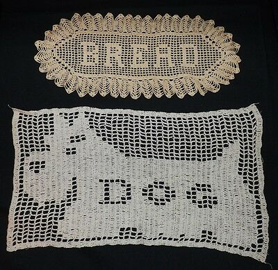 Two Antique Doilies. Dog and Bread. Excellent Work in Excellent Condition