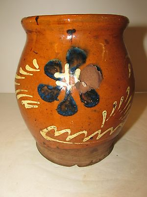 Vintage  Redware Slip Decorated Wide mouth Jar.