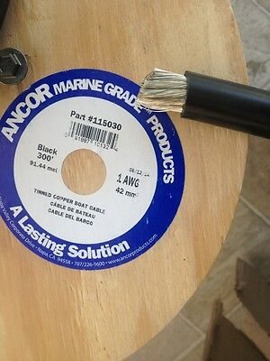 1 Awg Gauge Black Ancor Marine Tinned Copper Boat Battery Cable Wire 30' piece