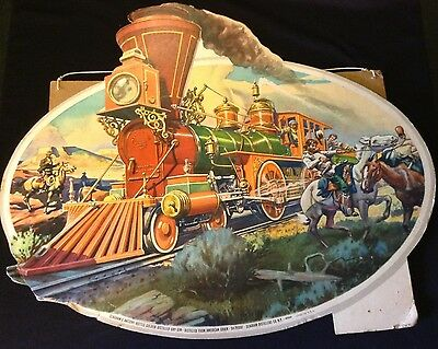Rare Vintage Original Cardboard Sign SEAGRAM'S DRY GIN Advertising Train