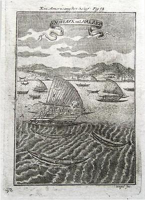 SAILING SHIPS & VESSELS OF AMERICA, Allain Mallet Antique print 1719