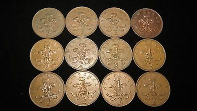 Twelve 1971 Great Britain Two New Pence Coins Lot My41